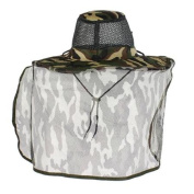 Fishing Camping Camouflage Pattern Roll Up Brim Back Hood Nylon Hat Cap for Men
