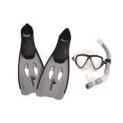 Grey Kona Adult Pro Silicone Water or Swimming Pool Scuba or Snorkelling Set - Large