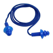 Swimming Corded Noise Reduction Blue Silicone Ear Plugs Earplugs w String