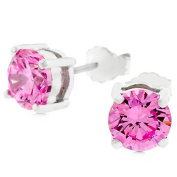 Kate Bissett E01220RS-S12-6.25MM Pink CZ Stud Earrings