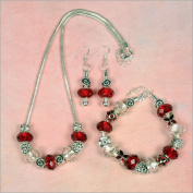 My Favourite Beads 135181 Pandora Style Valentines Day Crystal Crush 3 Piece Set