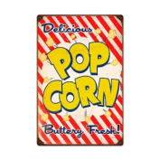 Past Time Signs RPC172 Pop Corn Food And Drink Vintage Metal Sign 16 W X 24 H In.