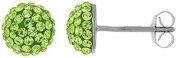 Doma Jewellery MAS00533 Sterling Silver Earrings with Light Green Crystals - August Birthstone