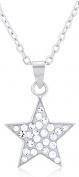 Doma Jewellery MAS01235 Sterling Silver Star Necklace with Crystals