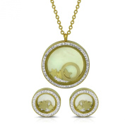 Floating Crystals Gold Plated Stainless Steel Pendant Earring post Jewellery Set 2.5cm in diameter