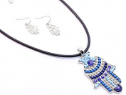 Big Blue Seed Bead Hamsa Pendant with Leather Cord Chain Necklace & Earring Set