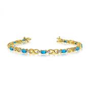 14K Yellow Gold Oval Blue Topaz and Diamond Bracelet