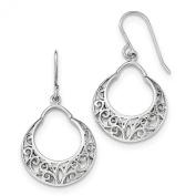 Sterling Silver Polished Fancy Shepherd Hook Earrings