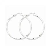 Sterling Silver 3mm Polished Twisted Hoop Earrings
