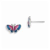 Madi K Sterling Silver Enamelled Butterfly Post Earrings