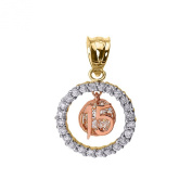 10k Tri-Colour Gold Sweet 15 Años Quinceanera Pendant with Cubic Zirconia Round