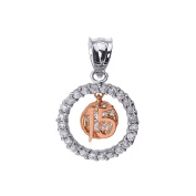 14k Two-Tone Gold Sweet 15 Años Quinceanera Pendant with Cubic Zirconia Round