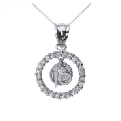 14k White Gold Sweet 15 Años Quinceanera Pendant Necklace with Cubic Zirconia Round