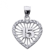 10k White Gold Sweet 15 Años Quinceanera Pendant with Cubic Zirconia Heart