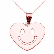 10k Rose Gold Happy Smiley Face Heart Pendant Necklace