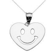 14k White Gold Happy Smiley Face Heart Pendant Necklace