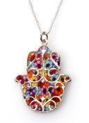 Hamsa Necklace - Fluer de Lis Pendant with Multi-Coloured Polymer Clay in 925 Silver