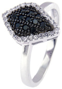 Doma Jewellery MAS02123-9 Sterling Silver Ring with Black & White Cubic Zirconia - Size 9