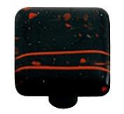 Hot Knobs HK3002-KA Mardi Gras Red with Black Square Glass Cabinet Knob - Aluminium Post