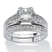 PalmBeach Jewellery 4936410 1.88 TCW Princess-Cut Cubic Zirconia Platinum over Sterling Silver Engagement Wedding Band Set Size 10