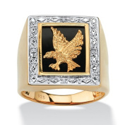 PalmBeach Jewellery 4837313 Mens Onyx and Diamond Accented Eagle Ring in 18k Gold over Sterling Silver Size 13