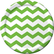 Creative Converting 423123 23cm . Dinner Plates Chevron & Dots - Fresh Lime - Case of 96