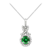 Fine Jewellery Vault UBUNPD32190AGCZE600 May Birthstone Emerald with CZ Halo Pendant in Sterling Silver