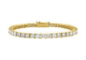 Fine Jewellery Vault UBAGVYRD131400CZ Tennis Bracelet Four Carat Cubic Zirconia in 18K Yellow Gold Vermeil. 18cm .