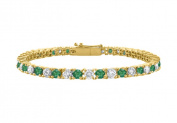 Fine Jewellery Vault UBUBRAGVYRD131400CZE Created Emerald Tennis Bracelet with Cubic Zirconia 4 CT TGW. on 18K Yellow Gold Vermeil. 18cm .