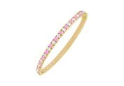 Fine Jewellery Vault UBUGGAGVYRD131200CZPS September Birthstone Created Pink Sapphire and CZ Eternity Bangle in 18K Yellow Gold Vermeil 2 C