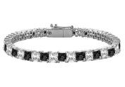 Fine Jewellery Vault UBBR14WSQPR700DBD Black and White Diamond Tennis Bracelet with 7 CT Diamonds