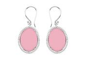 Fine Jewellery Vault UBERBK70384W10DCPK 10K White Gold Pink Chalcedony and Diamond Earrings 30.16 CT TGW