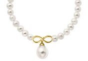 Fine Jewellery Vault UBNKPD3039AGVYFWWH 8MM Mother of Pearl Necklace with Infinity Symbol in 18K Yellow Gold Vermeil 17 in.