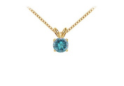 Fine Jewellery Vault UBPD14YG4RD025QD Blue Diamond Solitaire Pendant 14K Yellow Gold 0.25 CT Diamond