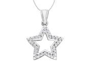 Fine Jewellery Vault UBPDR484W14D Diamond Open Star Necklace in 14K White Gold 0.50 Carat Diamonds