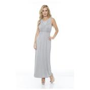 White Mark 302-Grey-L Womens Katherine Maxi Dress Grey - Large