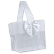 Deluxe Small Business Sales B788-01 3.25 x 8.3cm x 5.1cm . Satin Bow Mini Totes White
