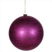 NorthLight Plum Purple Glitter Striped Shatterproof Christmas Ball Ornament - 12cm .