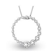 Luis Creations PRL999-075 0.75 Ct. Diamond 14K Gold Journey Circle Pendant. Chain Size 18 mm. D