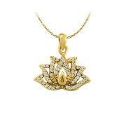 Fine Jewellery Vault UBNPD32299AGVYCZ Cubic Zirconia Lotus Pendant in Yellow Gold Vermeil Unique Jewellery Set with Free 41cm . Chain