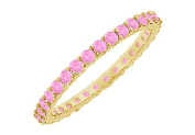 Fine Jewellery Vault UBGG18YRD1311000PS Pink Sapphire Eternity Bangle 18K Yellow Gold 10.00 CT TGW