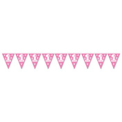 Beistle 54671-P 1St Birthday Pennant Banner Pink - Pack Of 12