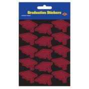 Beistle 54055-M Grad Cap Stickers Maroon - Pack Of 12