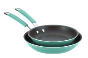 Rachael Ray 16347 Cucina Hard Enamel Nonstick Twin Pack Skillet Set Agave Blue