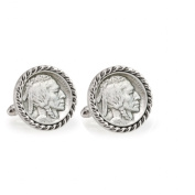 UPM Global LLC 12701 1913 First-Year-of-Issue Buffalo Nickel Silvertone Rope Bezel Cuff Links