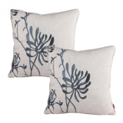 Queenie® - 2 Pcs of Floral Embroidery on Solid Cotton Linen Background Decorative Throw Pillow Case Embroidered Throw Pillowcase Pillow Sham Cushion Covers 18 X 18 Inch 45 X 45 Cm