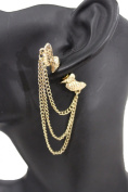 TFJ Women Fashion Stud Front and Back Earring Gold Winged Heart Chains Urban 1 Side