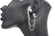 TFJ Women Fashion Stud Front and Back Earring Silver Angel Wings Chains Urban 1 Side