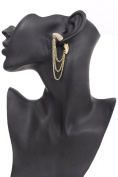 TFJ Women Fashion Stud Front and Back Earring Gold Bull Horns Chains Urban 1 Side