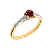10K Yellow Gold Diamond and Garnet Engagement Proposal Ring